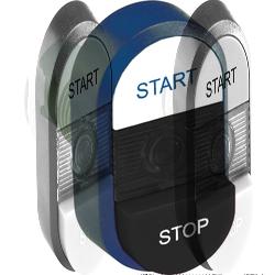 ABB MPD Кнопка двойная MPD19-11B (белая/черная-выступающая) непрозрачная черная-выступающая линза с текстом (START/STOP) арт. 1SFA611148R1106