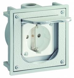 ABL Розетка для скрытой уст, крышка-мет, бокс-терм, 2 каб вв с резьб М20, серая, IP41, 94,5х94,5 мм арт. 1471460
