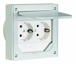 ABL Розетка для скрытой установки (для пола/мебели), 2-ная, корпус-металл, IP41, 112х112 мм (серый) арт. 1632490