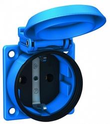 ABL Розетка приборная, термопласт, фланец, IP54 + IP54, 16A, 2P+E, 250V, (синий) арт. 1561050