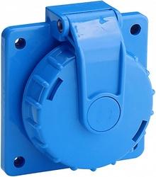 ABL Розетка приборная, термопласт, фланец, с крышкой и байонетным замком IP68, 16A, 2P+E,250V, синий арт. 1987951