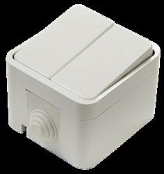 ASD Aqua Белый Выключатель 2-кл. полугерметичный 3200 арт. 4690612000435