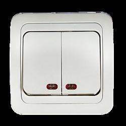 ASD Classico Белый Выключатель 2-кл. с подсветкой 2123 арт. 4680005959877
