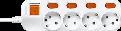 Anam Legrand e-Fren 4 Удлинитель с выключателем+ индивидуальным выкл.,шнур 2.5м, 16A, 250V арт. L855962C2