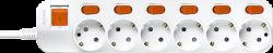 Anam Legrand e-Fren 6 Удлинитель с выключателем+ индивидуальным выкл.,шнур 2.5м, 16A, 250V арт. L855962E2