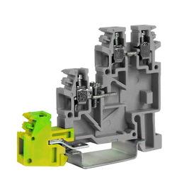 DKC Клеммный зажим. Трехуровневый для подключения датчиков. С заземлением на нижнем уровне. Тип TLE.2/GR. Серый. 2,5 кв.мм. арт. ZTL400GR