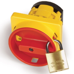 DKC Площадка желтая и ручка круглая красн. под замок, 67x67мм, модель 10, на винты арт. AZ1001