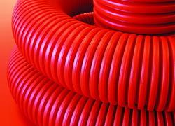 DKC Труба гибкая двустенная для кабельной канализации д.50мм, цвет красный, в бухте 100м., без протяжки арт. 120950