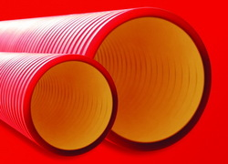 DKC Труба жесткая двустенная для кабельной канализации (6кПа) D=200мм, цвет красный арт. 160920-6K