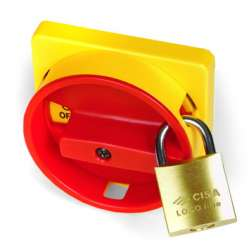 DKC Желтая площадка 67х67 - красная ручка с д.22мм с замком для серии АМ арт. AZ4201