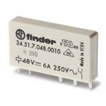 Finder Ультратонкие реле для печатного монтажа, контакты AgNi, 1CO 6A арт. 345170240010