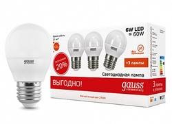 Gauss Лампа LED Elementary Globe 6W E27 2700K 3/120 (упак=3шт.) арт. 53216T