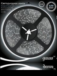 Gauss Лента LED 4.8W 12V 60LED/m теплый белый 3528 арт. EB312000105