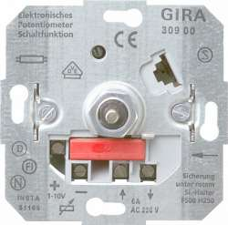 Gira Мех Светорегулятор поворотный для электронных ПРА (1-10 В) выкл 6А, ток упр-я 40 мА арт. 030900