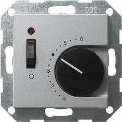 Gira S-55 Алюминий Терморегулятор с размыкающим контактом 24V/10 (4)A и контрольной лампой арт. 039326