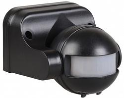 IEK Датчик движения ДД 009 черный, макс. нагрузка 1100Вт, угол обзора 180град., дальность 12м, IP44 арт. LDD10-009-1100-002