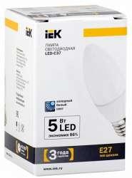 IEK Лампа светодиодная C37 свеча 5 Вт 425 Лм 230 В 4000 К E27 арт. LL-C37-5-230-40-E27-FR