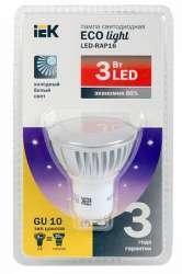 IEK Лампа светодиодная PAR16 софит 3 Вт 200 Лм 230 В 4000 К GU10 -eco арт. LLP-PAR16-3-230-40-GU10
