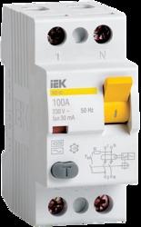 IEK Выключатель дифференциальный УЗО ВД1-63 2Р 25А 30мА тип А арт. MDV11-2-025-030