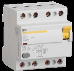 IEK Выключатель дифференциальный УЗО ВД1-63 4Р 50А 100мА тип А арт. MDV11-4-050-100