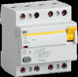 IEK Выключатель дифференциальный ВД1-63 (УЗО) 4Р 50А 100мА арт. MDV10-4-050-100
