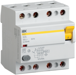 IEK Выключатель дифференциальный ВД1-63 (УЗО) 4Р 80А 300мА арт. MDV10-4-080-300
