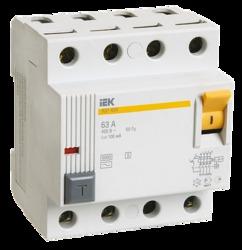 IEK Выключатель дифференциальный ВД1-63S 4Р 40А 100мА арт. MDV12-4-040-100