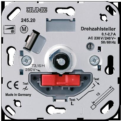 JUNG Мех Регулятор частоты вращения с кнопочным выключателем (ток 0.1 -2.3A) арт. 245.20