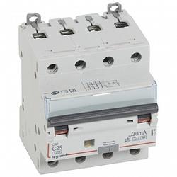 Legrand DX3 Дифференциальный автоматический выключатель 4P 25А (С) 30MA-Hpi арт. 411246