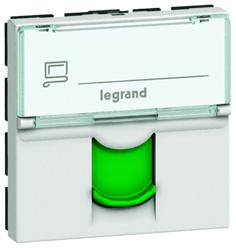 Legrand Mosaic Розетка RJ 45 кат 6а STP 2 мод белый с зеленой шторкой LCS2 арт. 076524