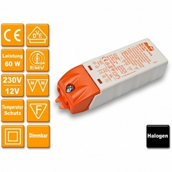 Relco Электронный трансформатор 220/12V 10-60 Вт защ от перенапр, КЗ возм рег арт. RN1608
