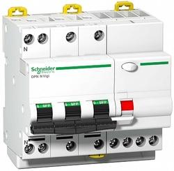 SE Acti 9 Дифференциальный автомат (АВДТ) 4-полюсный (3P+N) 10А 30мА (C) Asi арт. A9D33710