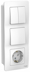 SE Blanca внутр Бел Блок:Розетка з/к шт 16А, 250В+выкл 1кл.+выкл 2кл. арт. BLNBS101201