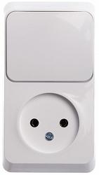 SE Этюд наруж Бел Блок: Розетка б/з + выключатель 1-клавишный арт. BPA16-204B