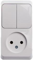 SE Этюд наруж Бел Блок: Розетка б/з + выключатель 2-клавишный арт. BPA16-205B