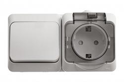 SE Этюд наруж Бел Блок: Розетка с/з со шторками + переключатель 1-клавишный IP44 арт. BPA16-246B