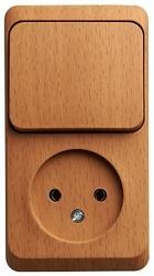 SE Этюд наруж Бук Блок: Розетка б/з + выключатель 1-клавишный арт. BPA16-204T