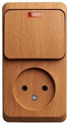 SE Этюд наруж Бук Блок: Розетка б/з + выключатель 1-клавишный с подсветкой арт. BPA16-206T