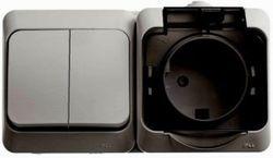 SE Этюд наруж Серый Блок Выключатель 2-клавишный + розетка с/з со шторками IP44 арт. BPA16-242C