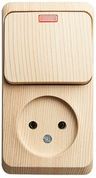 SE Этюд наруж Сосна Блок: Розетка б/з + выключатель 1-клавишный с подсветкой арт. BPA16-206D