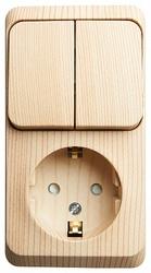 SE Этюд наруж Сосна Блок: Розетка с/з со шторками + выключатель 2-клавишный арт. BPA16-202D