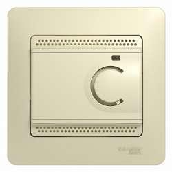 SE Glossa Беж Термостат электронный теплого пола с датчиком, 10A (в сборе с рамкой) арт. GSL000238
