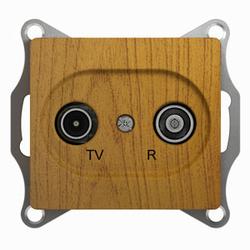SE Glossa Дерево Дуб TV-R Розетка одиночная 1DB арт. GSL000594
