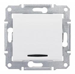 SE Sedna Бел Выключатель 1-клавишный 2-полюсный с индикацией 10A (сх.2) арт. SDN0201121
