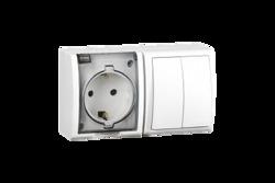 Simon 15 Aqua Белый Блок: Розетка 2P+E Schuko 16А 250В + выключатель двойной 10А 250В, IP54 арт. 1594515-030