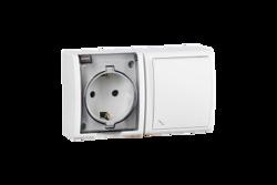 Simon 15 Aqua Белый Блок: Розетка 2P+E Schuko 16А 250В + выключатель проходной 10А 250В, IP54 арт. 1594516-030