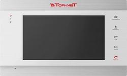 """Tor-neT Монитор видеодомофона, 7"""" цв., hands free, память до 200 кадров, до 4 мон., 2 дверн.блока, 2 камеры, входы тревожных датчиков, белый - серебро арт. TR-39M SW"""