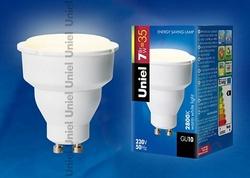 Uniel Лампа люминесцентная компактная 7Вт, GU10, тёпло-белая арт. 02184