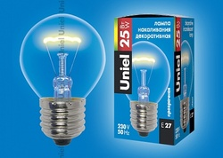 Uniel Лампа накаливания шар IL-G45-CL-25/E27 картон арт. 01435