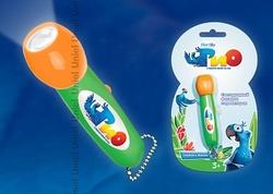 Uniel RIO Фонарик карманный пластмассовый с мини проектором, 1 светодиод, 3 батарейки LR44 (в комплекте) оранжевый, блистер арт. 09052